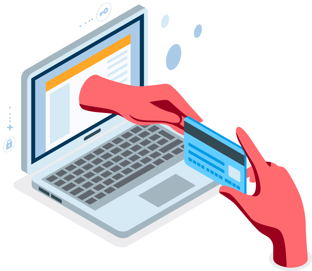 Seamless & automated payment processing - Illustration of a hand handing a credit card to another hand coming out of a laptop screen