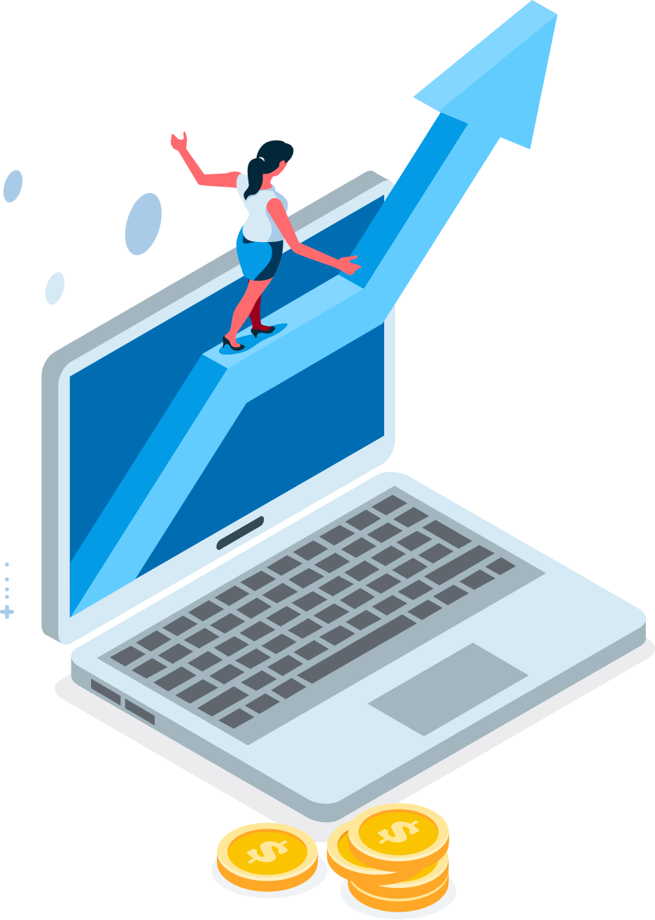 Incrementl Revenue - Illustration of a girl tread-walking on an upward graph coming out of a laptop screen